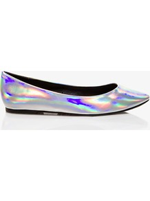 Hologram Ballet Flats - predominant colour: silver; occasions: casual, evening; material: faux leather; heel height: flat; toe: round toe; style: ballerinas / pumps; trends: metallics; finish: metallic; pattern: two-tone