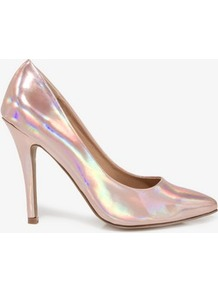 Pointed Hologram Pumps - predominant colour: blush; occasions: evening, occasion; material: faux leather; heel height: high; heel: stiletto; toe: pointed toe; style: courts; trends: metallics; finish: metallic; pattern: two-tone