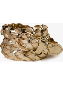 Metallic Braided Faux Leather Belt - predominant colour: gold; occasions: casual, evening, holiday; type of pattern: light; style: plaited/woven; size: skinny; worn on: hips; material: faux leather; pattern: plain; trends: metallics; finish: metallic