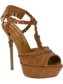 Stiletto Sandal - predominant colour: tan; occasions: evening, occasion, holiday; material: leather; ankle detail: ankle strap; heel: platform; toe: open toe/peeptoe; style: standard; finish: plain; pattern: plain; embellishment: fringing; heel height: very high