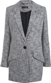 Spring Coat - style: single breasted; collar: standard lapel/rever collar; pattern: herringbone/tweed; length: mid thigh; predominant colour: mid grey; occasions: casual, work; fit: tailored/fitted; fibres: cotton - mix; sleeve length: long sleeve; sleeve style: standard; collar break: low/open; pattern type: fabric; texture group: woven light midweight