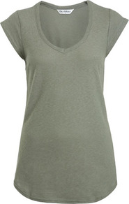 Khaki Cap Sleeve Tee - neckline: low v-neck; sleeve style: capped; pattern: plain; style: t-shirt; predominant colour: khaki; occasions: casual, holiday; length: standard; fibres: cotton - 100%; fit: body skimming; sleeve length: short sleeve; pattern type: fabric; texture group: jersey - stretchy/drapey