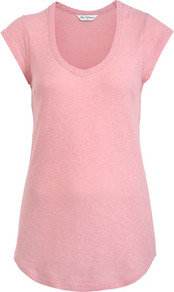 Pink Cap Sleeve Tee - neckline: low v-neck; sleeve style: capped; pattern: plain; length: below the bottom; style: t-shirt; predominant colour: pink; occasions: casual, holiday; fibres: cotton - 100%; fit: body skimming; sleeve length: short sleeve; pattern type: fabric; texture group: jersey - stretchy/drapey