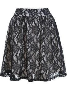 Black Lace Skater Skirt - length: mid thigh; fit: loose/voluminous; waist: mid/regular rise; secondary colour: white; predominant colour: black; occasions: evening, occasion; style: fit & flare; fibres: polyester/polyamide - 100%; texture group: lace; pattern type: fabric; pattern size: standard; pattern: florals