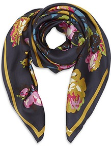 Bloomfield Silk Scarf - predominant colour: navy; secondary colour: mustard; occasions: casual, evening, work, holiday; type of pattern: heavy; style: square; size: standard; material: silk; pattern: florals; trends: high impact florals