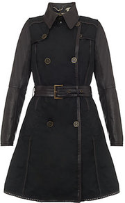 Zinmia Leather Trench Coat - pattern: plain; hip detail: side pockets at hip; style: trench coat; length: mid thigh; predominant colour: chocolate brown; occasions: casual, evening, work; fit: tailored/fitted; fibres: cotton - mix; collar: shirt collar/peter pan/zip with opening; waist detail: belted waist/tie at waist/drawstring; sleeve length: long sleeve; sleeve style: standard; texture group: waxed cotton; collar break: high; pattern type: fabric