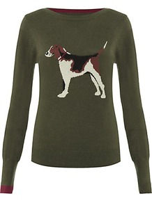 Beagle Sweater - neckline: slash/boat neckline; style: standard; predominant colour: dark green; occasions: casual; length: standard; fit: standard fit; sleeve length: long sleeve; sleeve style: standard; texture group: knits/crochet; pattern type: knitted - fine stitch; pattern size: standard; pattern: patterned/print; fibres: viscose/rayon - mix