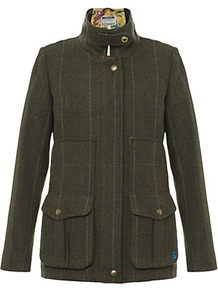 Tweed Field Coat - pattern: checked/gingham; length: standard; style: single breasted; collar: high neck; predominant colour: dark green; occasions: casual; fit: tailored/fitted; fibres: wool - 100%; sleeve length: long sleeve; sleeve style: standard; collar break: high; pattern type: fabric; pattern size: standard; texture group: woven light midweight