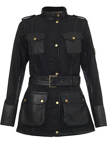 Blackthorm Leather Jacket - pattern: plain; style: belted jacket; shoulder detail: obvious epaulette; bust detail: added detail/embellishment at bust; length: below the bottom; hip detail: front pockets at hip; collar: high neck; fit: slim fit; predominant colour: black; occasions: casual, work; fibres: cotton - mix; waist detail: belted waist/tie at waist/drawstring; sleeve length: long sleeve; sleeve style: standard; texture group: waxed cotton; collar break: high; pattern type: fabric