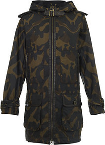 Amber Camouflage Parka - collar: round collar/collarless; style: parka; back detail: hood; hip detail: front pockets at hip; length: mid thigh; secondary colour: dark green; occasions: casual; fit: straight cut (boxy); fibres: cotton - 100%; predominant colour: multicoloured; sleeve length: long sleeve; sleeve style: standard; texture group: waxed cotton; collar break: high; pattern type: fabric; pattern size: small & busy; pattern: patterned/print