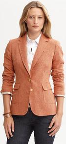 Textured Orange Wool Blend Riding Jacket - pattern: plain; style: single breasted blazer; collar: standard lapel/rever collar; predominant colour: terracotta; occasions: casual, work; length: standard; fit: tailored/fitted; fibres: wool - mix; sleeve length: long sleeve; sleeve style: standard; collar break: medium; pattern type: fabric; texture group: woven light midweight