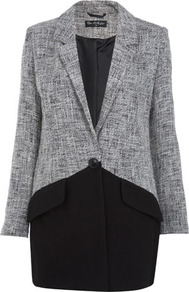Two Tone Spring Coat - length: below the bottom; style: single breasted; hip detail: front pockets at hip; collar: standard lapel/rever collar; pattern: herringbone/tweed; secondary colour: white; predominant colour: black; occasions: casual, evening, work; fit: tailored/fitted; fibres: cotton - mix; sleeve length: long sleeve; sleeve style: standard; collar break: low/open; pattern type: fabric; pattern size: standard; texture group: woven light midweight