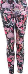 Barbie Allover Print Legging - length: standard; style: leggings; waist: low rise; secondary colour: pink; predominant colour: black; occasions: casual; fibres: polyester/polyamide - 100%; texture group: jersey - clingy; fit: skinny/tight leg; pattern type: fabric; pattern size: big & busy; pattern: patterned/print