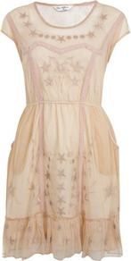 Star Embroidered Mesh Dress - style: shift; neckline: round neck; sleeve style: capped; fit: fitted at waist; predominant colour: nude; occasions: casual, evening; length: just above the knee; fibres: polyester/polyamide - 100%; sleeve length: short sleeve; texture group: sheer fabrics/chiffon/organza etc.; pattern type: fabric; pattern size: small & busy; pattern: patterned/print; embellishment: embroidered