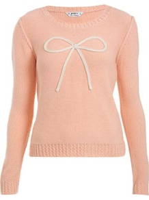Petites Bow Jumper - neckline: round neck; pattern: plain; bust detail: added detail/embellishment at bust; style: standard; secondary colour: ivory; predominant colour: pink; occasions: casual, work; length: standard; fibres: acrylic - 100%; fit: standard fit; sleeve length: long sleeve; sleeve style: standard; texture group: knits/crochet; pattern type: knitted - other; embellishment: applique