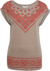 Mocha Bandana Print Tee - neckline: round neck; sleeve style: dolman/batwing; length: below the bottom; style: t-shirt; shoulder detail: contrast pattern/fabric at shoulder; secondary colour: true red; predominant colour: taupe; occasions: casual, holiday; fibres: polyester/polyamide - mix; fit: body skimming; hip detail: contrast fabric/print detail at hip; bust detail: contrast pattern/fabric/detail at bust; sleeve length: short sleeve; trends: modern geometrics; pattern type: fabric; pattern size: big & light; pattern: patterned/print; texture group: jersey - stretchy/drapey