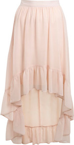 Nude Tiered Hem Skirt - length: below the knee; pattern: plain; fit: loose/voluminous; style: tiered; waist: mid/regular rise; predominant colour: nude; occasions: casual, evening, holiday; fibres: polyester/polyamide - 100%; hip detail: soft pleats at hip/draping at hip/flared at hip; waist detail: narrow waistband; texture group: sheer fabrics/chiffon/organza etc.; pattern type: fabric