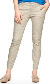 Printed Skinny Mini Skimmer Khakis - pocket detail: small back pockets, pockets at the sides; waist: mid/regular rise; predominant colour: stone; secondary colour: light grey; occasions: casual, holiday; length: ankle length; fibres: cotton - stretch; hip detail: fitted at hip (bottoms); waist detail: narrow waistband; texture group: cotton feel fabrics; trends: modern geometrics; fit: slim leg; pattern type: fabric; pattern size: small & busy; pattern: patterned/print; style: standard