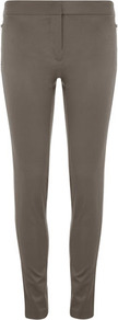 Grey Zip Sammie Trouser - length: standard; pattern: plain; waist detail: wide waistband/cummerbund; waist: mid/regular rise; predominant colour: mid grey; occasions: casual; fibres: polyester/polyamide - stretch; hip detail: fitted at hip (bottoms); fit: skinny/tight leg; pattern type: fabric; texture group: jersey - stretchy/drapey; style: standard
