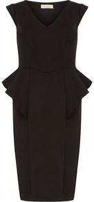 Black Waterfall Dress - style: shift; neckline: v-neck; fit: tailored/fitted; pattern: plain; sleeve style: sleeveless; waist detail: peplum waist detail; predominant colour: black; occasions: evening, occasion; length: just above the knee; fibres: polyester/polyamide - stretch; sleeve length: sleeveless; trends: glamorous day shifts; pattern type: fabric; texture group: other - light to midweight