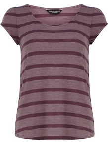 Aubergine Stripe Tee - neckline: round neck; pattern: horizontal stripes; style: t-shirt; predominant colour: purple; secondary colour: aubergine; occasions: casual, holiday; length: standard; fibres: polyester/polyamide - mix; fit: straight cut; sleeve length: short sleeve; sleeve style: standard; trends: striking stripes; pattern type: fabric; pattern size: big & light; texture group: jersey - stretchy/drapey