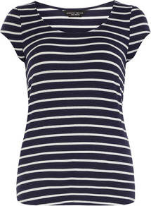 Navy Stripe Puff Sleeve Tee - sleeve style: capped; pattern: horizontal stripes; style: t-shirt; secondary colour: white; predominant colour: navy; occasions: casual, holiday; length: standard; neckline: scoop; fibres: viscose/rayon - stretch; fit: body skimming; sleeve length: short sleeve; pattern type: fabric; pattern size: standard; texture group: jersey - stretchy/drapey