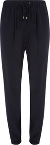 Navy Square Pocket Jogger - length: standard; pattern: plain; style: tracksuit pants; waist detail: elasticated waist; waist: mid/regular rise; predominant colour: navy; occasions: casual; fibres: polyester/polyamide - 100%; fit: slim leg; pattern type: fabric; texture group: other - light to midweight