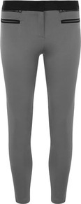 Petite Grey Contrast Trouser - pattern: plain; style: leggings; waist detail: elasticated waist; waist: mid/regular rise; predominant colour: mid grey; secondary colour: black; occasions: casual; length: ankle length; fibres: polyester/polyamide - stretch; hip detail: fitted at hip (bottoms); fit: skinny/tight leg; pattern type: fabric; pattern size: big & light; texture group: jersey - stretchy/drapey; embellishment: chain/metal