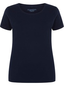 Navy Crew Neck Jersey Top - pattern: plain; style: t-shirt; predominant colour: navy; occasions: casual; length: standard; fibres: cotton - 100%; fit: body skimming; neckline: crew; sleeve length: short sleeve; sleeve style: standard; texture group: cotton feel fabrics; pattern type: fabric