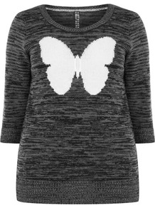 Butterfly Motif Jumper - neckline: round neck; style: standard; secondary colour: white; predominant colour: charcoal; occasions: casual; length: standard; fibres: acrylic - 100%; fit: slim fit; sleeve length: 3/4 length; sleeve style: standard; texture group: knits/crochet; pattern type: knitted - other; pattern size: small & light; pattern: patterned/print