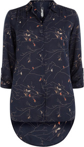 Navy Print Tab Up Shirt - neckline: shirt collar/peter pan/zip with opening; length: below the bottom; style: shirt; bust detail: buttons at bust (in middle at breastbone)/zip detail at bust; predominant colour: navy; secondary colour: nude; occasions: casual, evening, work; fibres: viscose/rayon - 100%; fit: straight cut; hip detail: dip hem; back detail: longer hem at back than at front; sleeve length: long sleeve; sleeve style: standard; texture group: silky - light; pattern type: fabric; pattern size: small & light; pattern: patterned/print