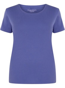 Violet Cotton T Shirt - pattern: plain; style: t-shirt; predominant colour: indigo; occasions: casual, holiday; length: standard; fibres: cotton - 100%; fit: body skimming; neckline: crew; sleeve length: short sleeve; sleeve style: standard; texture group: cotton feel fabrics; pattern type: fabric