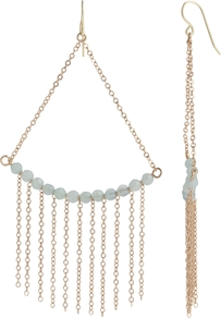 Boutique Quartzite Gold Chain Drop Earrings, Capri Green - predominant colour: gold; occasions: evening, work, occasion; style: drop; length: long; size: large/oversized; material: chain/metal; fastening: pierced; trends: metallics; finish: metallic; embellishment: chain/metal