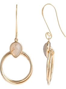 Boutique Etta Hoop Montana Agate Earrings, Gold - secondary colour: ivory; predominant colour: gold; occasions: evening, work, occasion, holiday; style: drop; length: mid; size: small; material: chain/metal; fastening: pierced; finish: metallic; embellishment: jewels