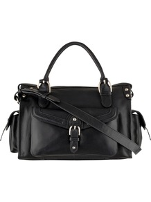 Holloway Medium Multi Way Bag - predominant colour: black; occasions: casual, evening, work; type of pattern: standard; style: shoulder; length: shoulder (tucks under arm); size: small; material: leather; pattern: plain; finish: plain