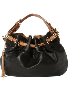 Dollita Pouchy Eyelet Bag - secondary colour: tan; predominant colour: black; occasions: casual, work; type of pattern: small; style: onion bag; length: handle; size: standard; material: faux leather; pattern: plain; finish: plain