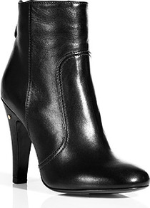 Black Stretch Nappa Boots - predominant colour: black; occasions: casual, work; material: leather; heel height: high; heel: stiletto; toe: round toe; boot length: ankle boot; style: standard; finish: plain; pattern: plain