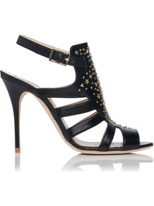Salinas Riveted Leather Gladiator Sandal Black - secondary colour: gold; predominant colour: black; occasions: evening, occasion; material: leather; heel height: high; embellishment: studs; ankle detail: ankle strap; heel: stiletto; toe: open toe/peeptoe; style: strappy; finish: plain; pattern: plain