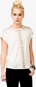 Studded Boxy Tee - neckline: round neck; sleeve style: dolman/batwing; pattern: plain; bust detail: added detail/embellishment at bust; predominant colour: white; occasions: casual; length: standard; style: top; fibres: viscose/rayon - 100%; fit: straight cut; sleeve length: short sleeve; texture group: silky - light; pattern type: fabric; embellishment: studs