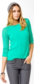 Essential Raglan Sleeve Sweater - neckline: round neck; sleeve style: raglan; pattern: plain; style: standard; shoulder detail: contrast pattern/fabric at shoulder; predominant colour: emerald green; occasions: casual; length: standard; fibres: acrylic - 100%; fit: standard fit; sleeve length: 3/4 length; texture group: knits/crochet; pattern type: knitted - other
