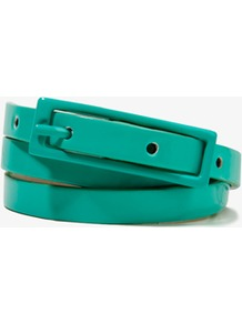 Faux Patent Leather Waist Belt - predominant colour: emerald green; occasions: casual, work, holiday; type of pattern: standard; style: classic; size: skinny; worn on: waist; material: faux leather; pattern: plain; finish: patent