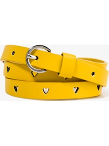 Perforated Heart Waist Belt - predominant colour: yellow; occasions: casual, holiday; type of pattern: small; style: classic; size: skinny; worn on: waist; material: faux leather; embellishment: studs; pattern: plain; finish: plain