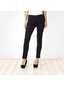 Dark Blue Faux Leather Trimmed Slim Leg Jeans - pattern: plain; pocket detail: traditional 5 pocket; style: slim leg; waist: mid/regular rise; predominant colour: denim; occasions: casual, evening; length: ankle length; fibres: cotton - stretch; jeans detail: dark wash; texture group: denim; pattern type: fabric; embellishment: applique