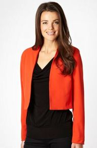 Dark Orange Crepe Jacket - pattern: plain; collar: round collar/collarless; length: cropped; style: boxy; predominant colour: bright orange; occasions: casual, evening, work; fit: straight cut (boxy); fibres: polyester/polyamide - stretch; sleeve length: long sleeve; sleeve style: standard; texture group: crepes; collar break: low/open; pattern type: fabric