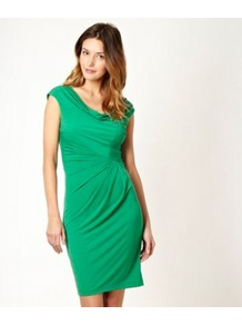 Green Jersey Cowl Dress - style: shift; neckline: cowl/draped neck; sleeve style: capped; pattern: plain; waist detail: twist front waist detail/nipped in at waist on one side/soft pleats/draping/ruching/gathering waist detail; predominant colour: emerald green; occasions: evening, work, occasion; length: just above the knee; fit: body skimming; fibres: polyester/polyamide - stretch; sleeve length: short sleeve; trends: glamorous day shifts; pattern type: fabric; texture group: jersey - stretchy/drapey