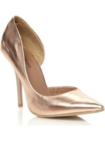 Rose Schapp Pointed Court Shoes - predominant colour: gold; occasions: evening, occasion; material: faux leather; heel: stiletto; toe: pointed toe; style: courts; trends: metallics; finish: metallic; pattern: plain; heel height: very high