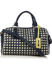 Designer Navy Weave Bowler Bag - predominant colour: navy; secondary colour: lime; occasions: casual, evening; type of pattern: large; style: bowling; length: across body/long; size: standard; material: faux leather; embellishment: studs; finish: plain; pattern: patterned/print