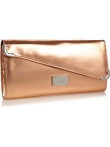 Rose Asymmetric Flap Clutch Bag - predominant colour: gold; occasions: evening, occasion; type of pattern: standard; style: clutch; length: hand carry; size: small; material: faux leather; pattern: plain; trends: metallics; finish: metallic