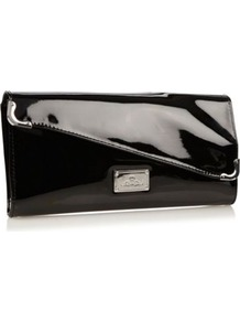 Black Asymmetric Flap Clutch Bag - predominant colour: black; occasions: evening; type of pattern: standard; style: clutch; length: hand carry; size: small; material: faux leather; pattern: plain; finish: patent