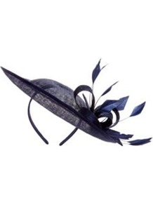 Midnight Statement Fascinator - predominant colour: navy; occasions: evening, occasion; type of pattern: light; style: fascinator; size: standard; material: sinamay; embellishment: feather; pattern: plain; trends: sculptural frills